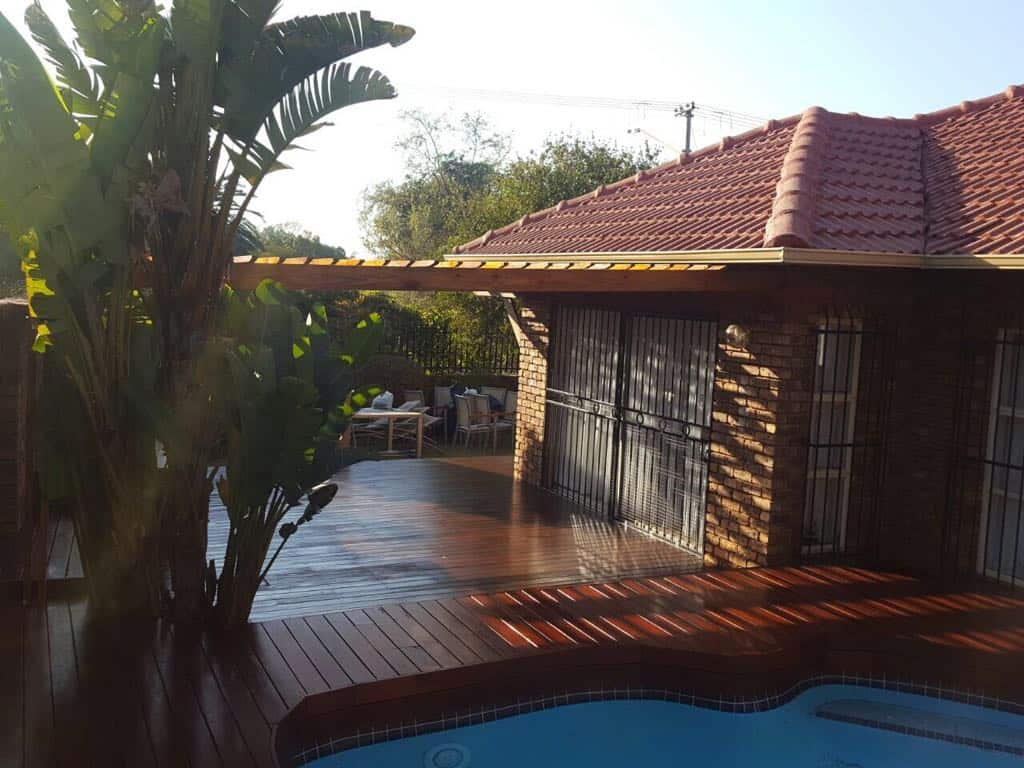 Multi Level Teak Deck With Pine Pergola